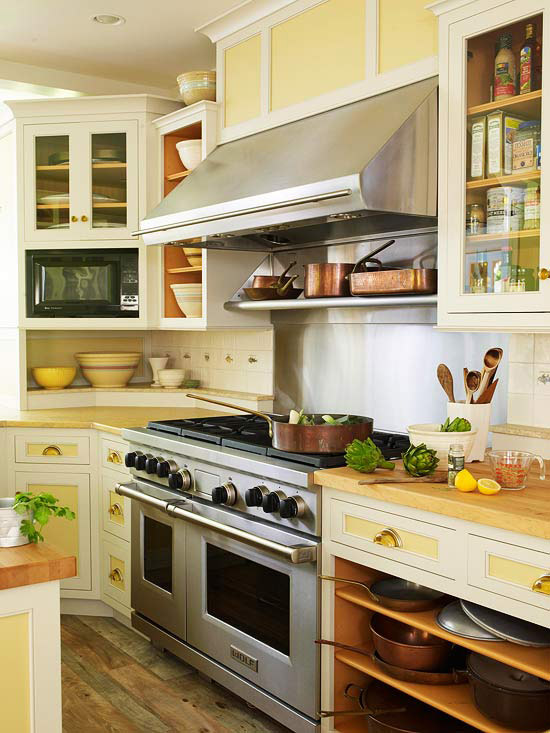 Kitchen with Yellow-and-White Cabinets
