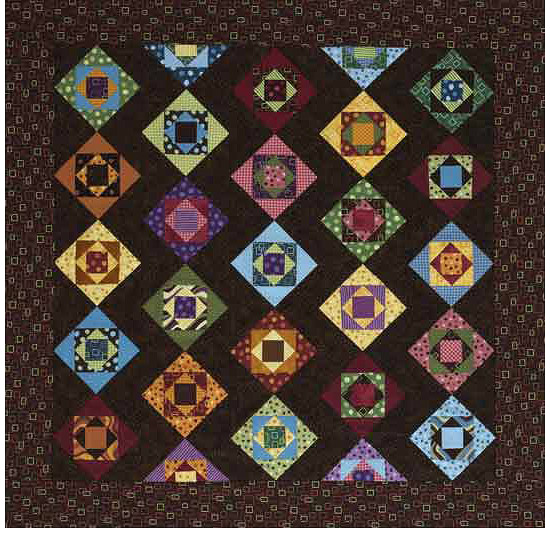Brown quilt with colored squares and rickrack pattern