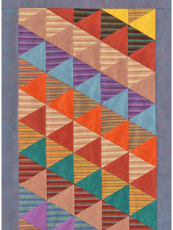 Colorful quilt with triangles