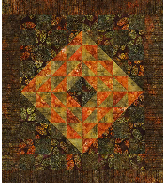 Orange and brown quilt
