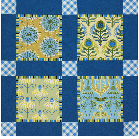 Blue and yellow quilt with FreeSpirit fabrics