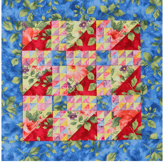 Blue, red, and green floral quilt