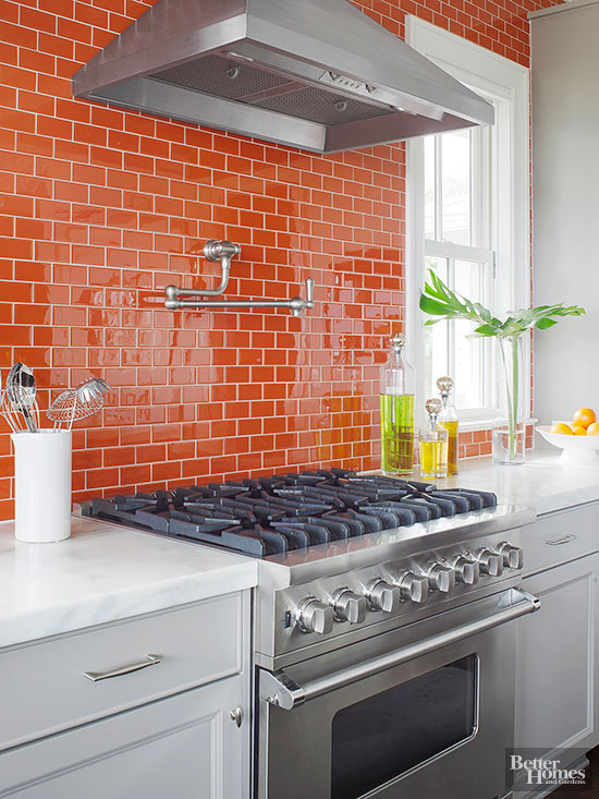 orange backsplash