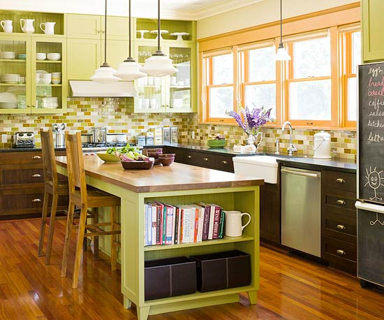 Kitchen in Greens and Golds