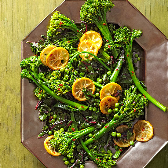 Broccolini with Peas & Seared Lemons