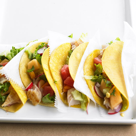 Fish Tacos with Melon Salsa