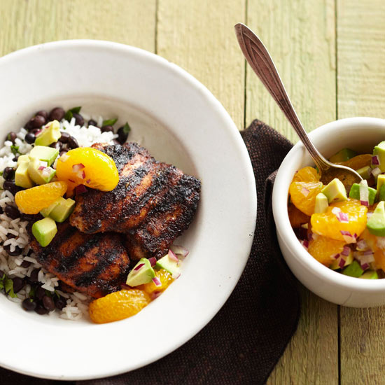 Jerk Chicken with Avocado-Orange Salsa
