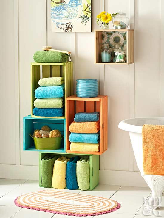 DIY colorful stacked crate bathroom storage