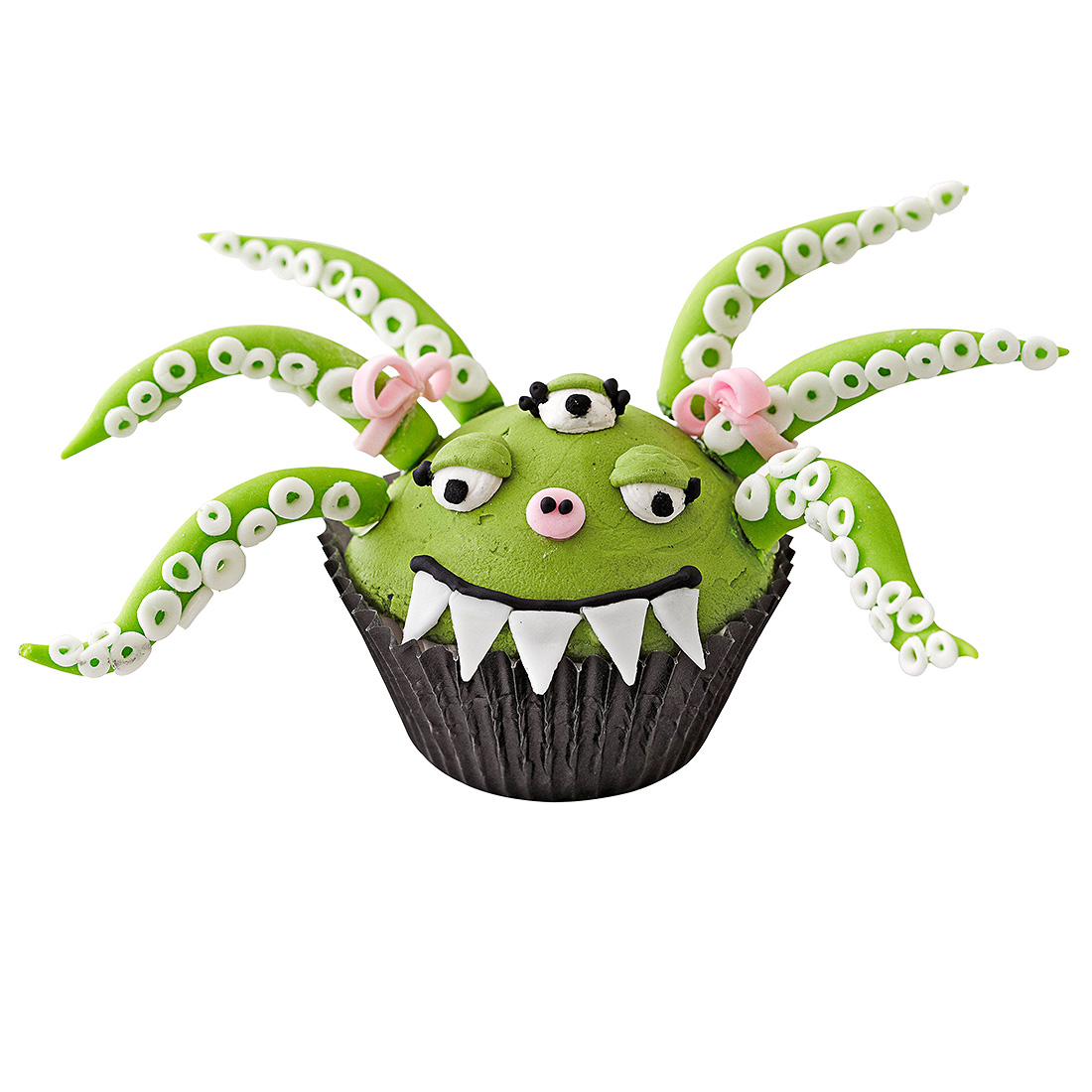 green monster with teeth and sucker arms cupcake