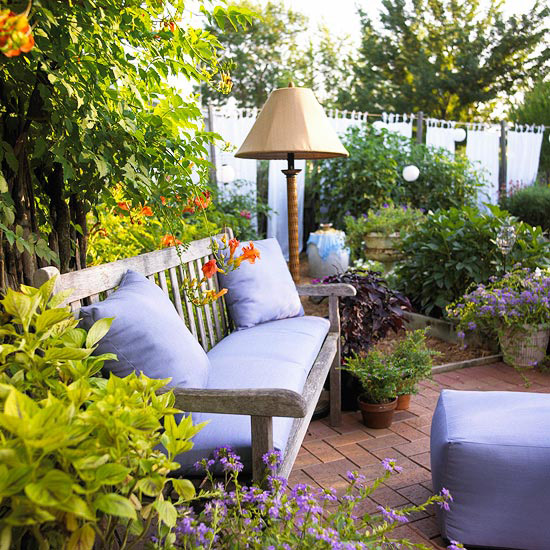 Outdoor furniture with purple cushions