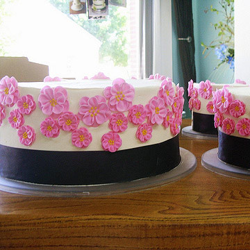 Three tiers of white cake with black band and little pink sugar flowers