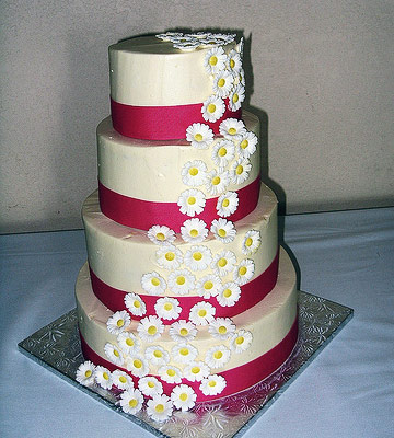 White cake with pink ribbon on layers and cascading sugar daisies