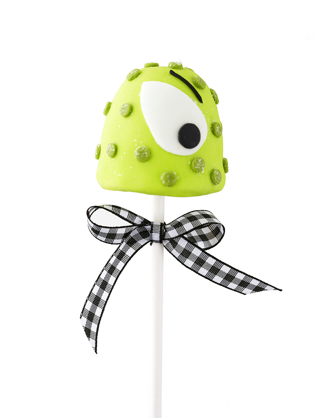 Green Monster Brownie Pop with gingham ribbon