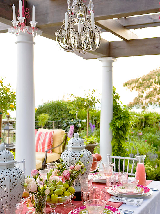Patio with crystal chandelier