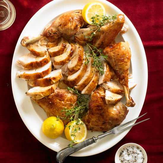 Lemon thyme split roasted turkey