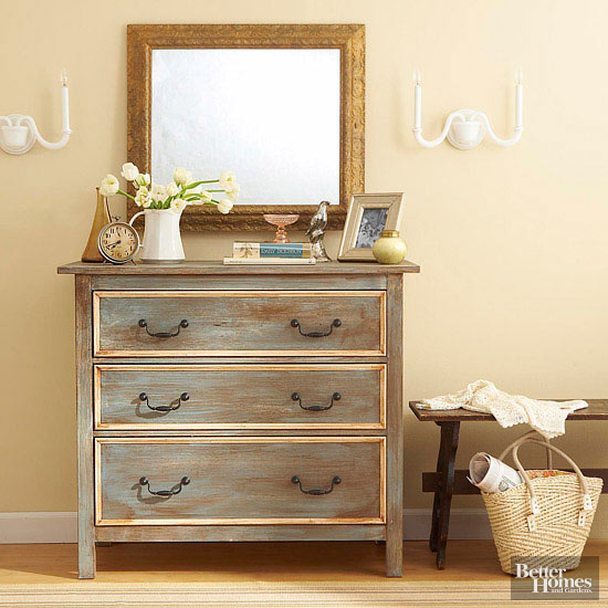 Transformed dresser with distressed look
