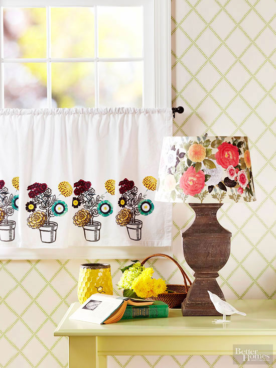 Decoupaged curtains and lampshade