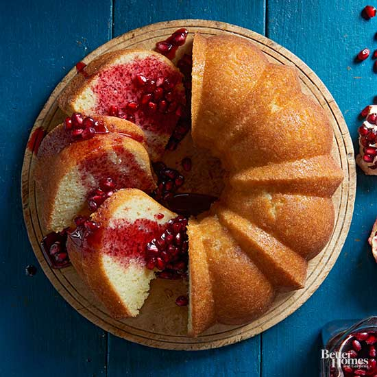 Cornmeal Butter Cake with Pomegranate Sauce