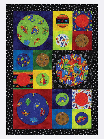 Child¿s quilt with dinosaur patterned fabric