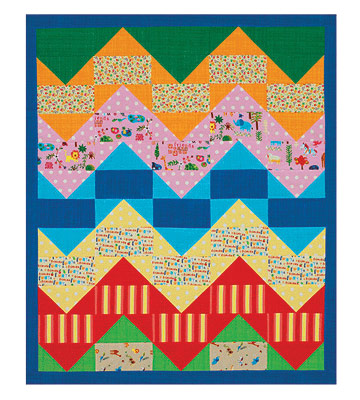 Simple kid¿s quilt with zigzag patterns