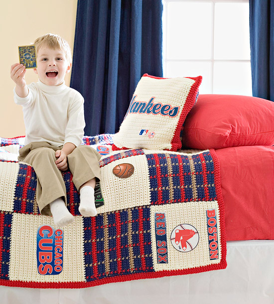 Crocheted Sports Bedspread and Pillow Set