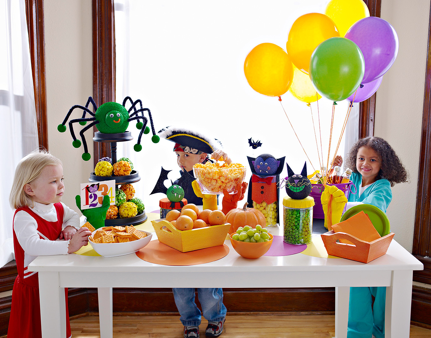 kids at table with food Count Dracula party