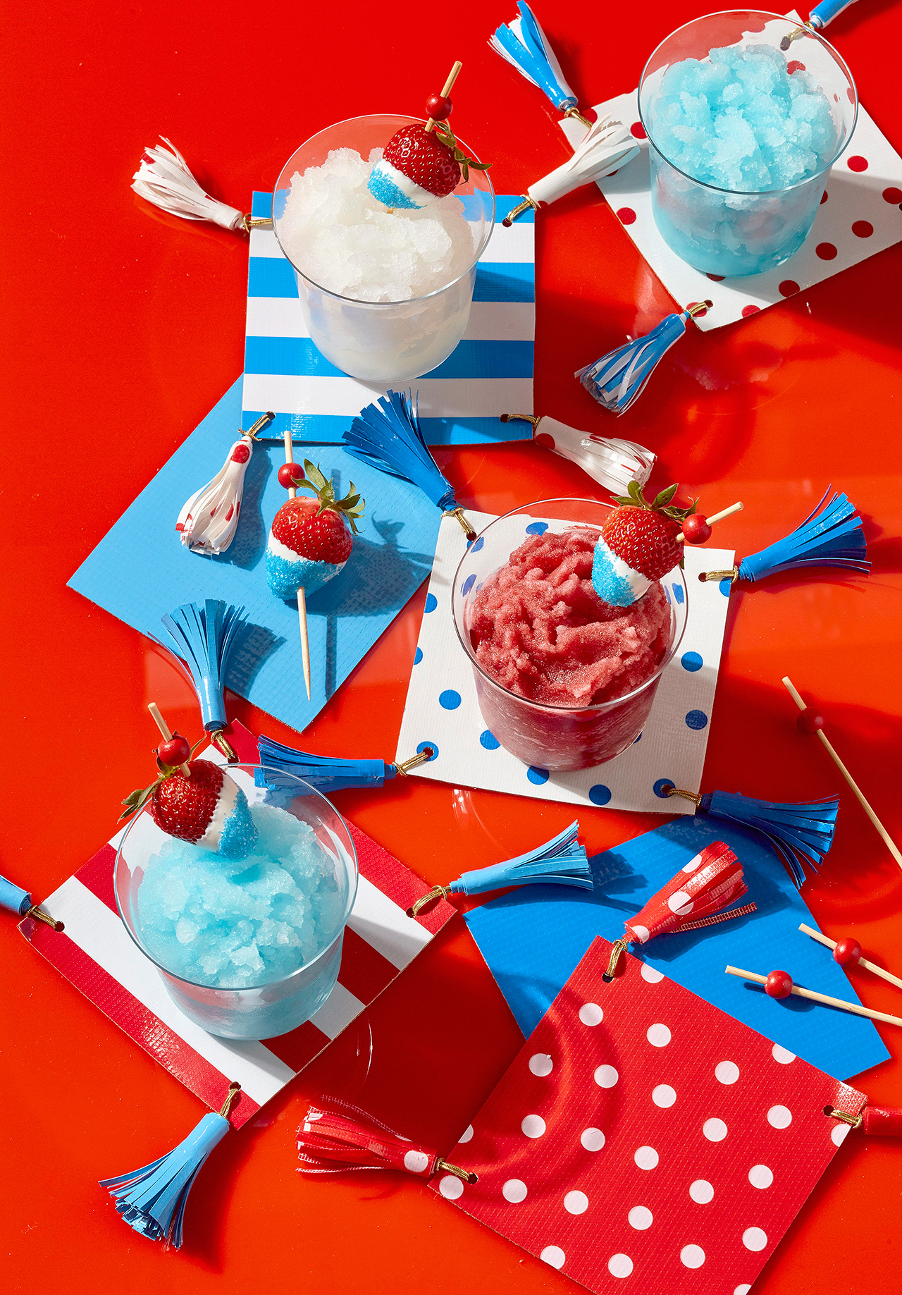 fourth-of-july icees and tasseled napkins