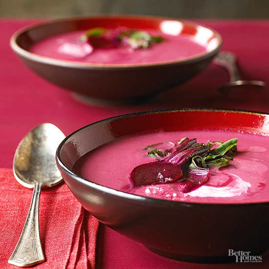 Beet and Apple Soup with Horseradish Cream