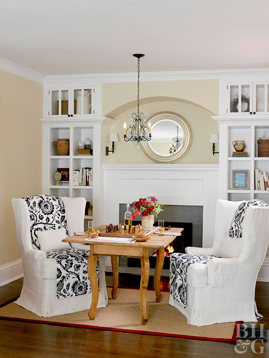 white fireplace mantel and shelves