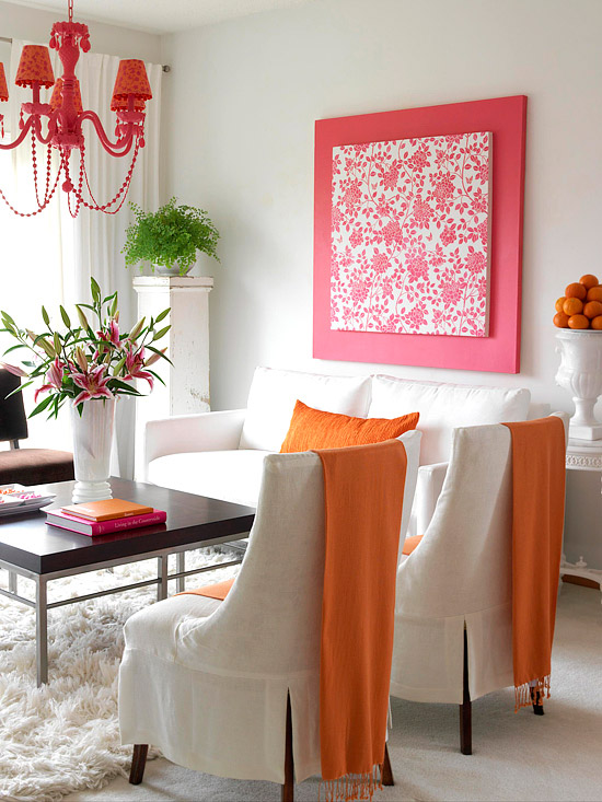 Orange, pink, and white dining room