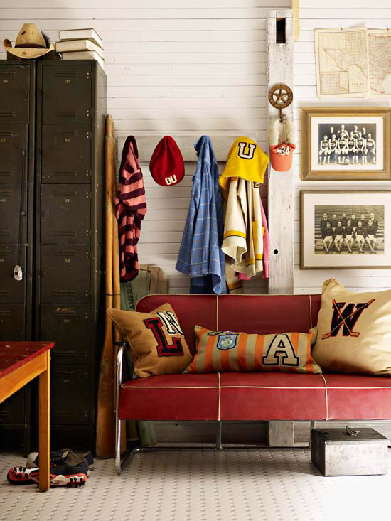room of collegiate tradition with memorabilia and a collection of vintage sweaters