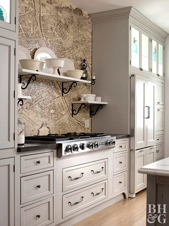 kitchen with city map wallpaper backsplash