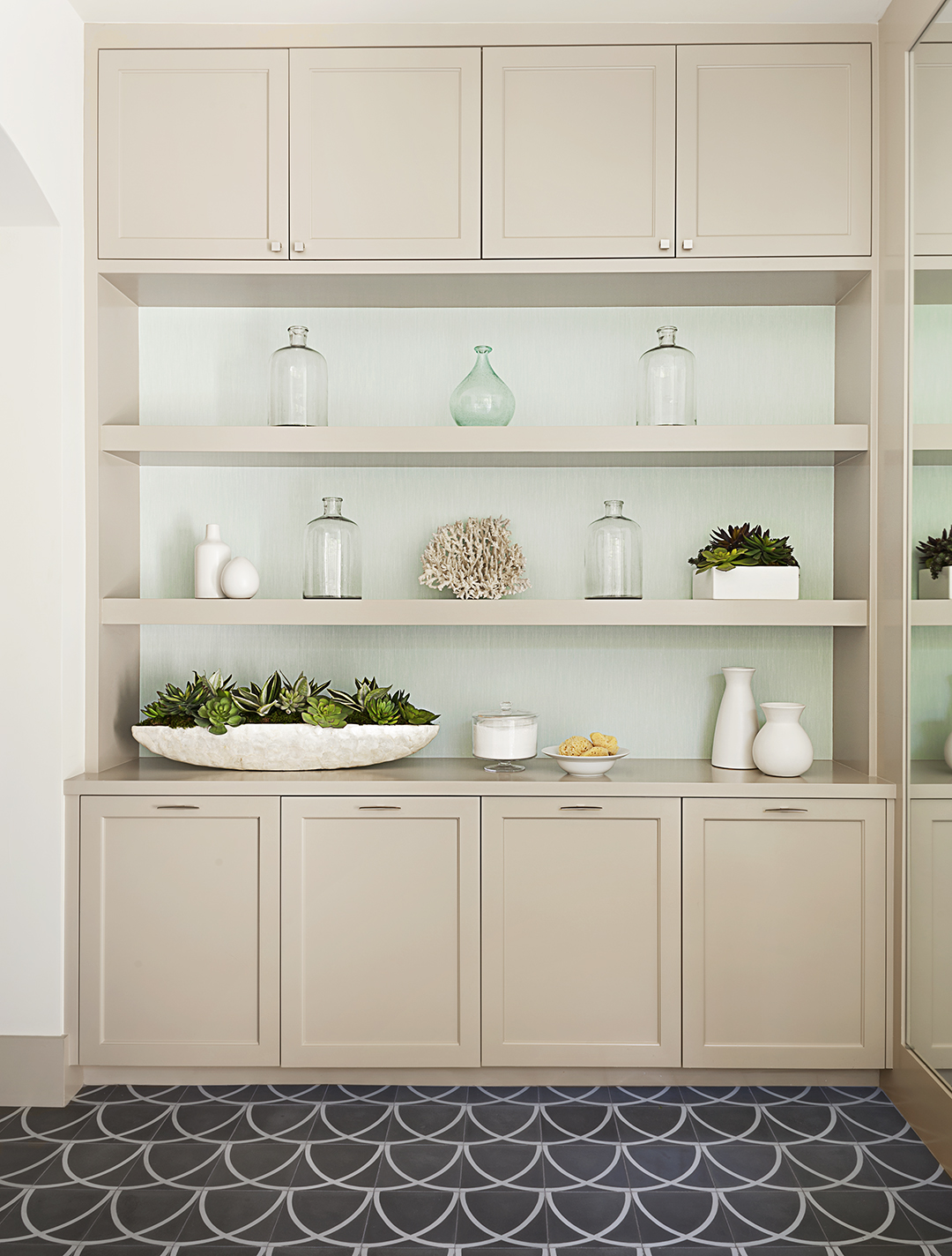beige cabinets with open shelving