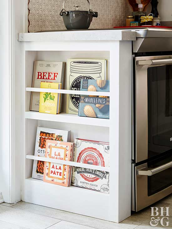kitchen display case for cookbooks