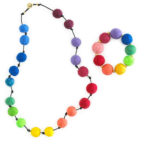 rainbow bead necklace and bracelet
