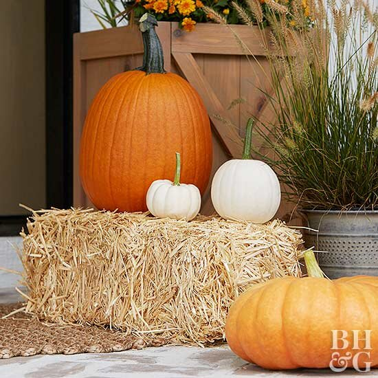 orange and white pumpkins on hay barrel