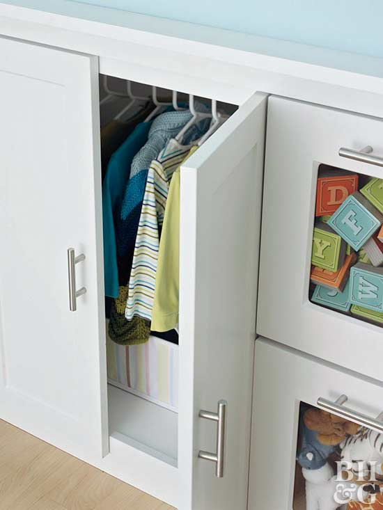 built in storage for hanging clothes
