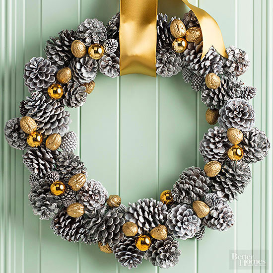 Pinecone Wreath with Ribbon