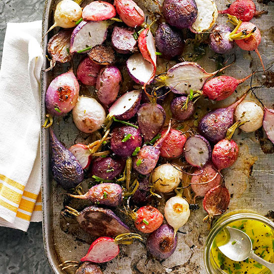 Roasted Radishes with Chive Vinaigrette