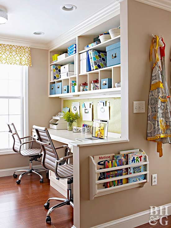 home office with customized storage
