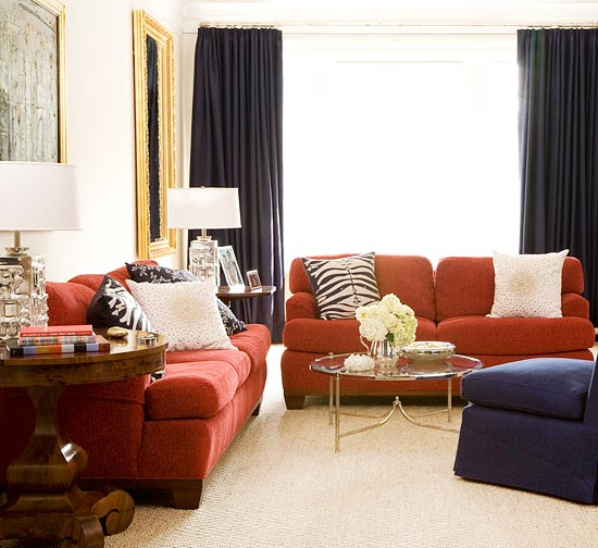 Red and navy blue living room