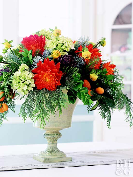 flower arrangement in urn