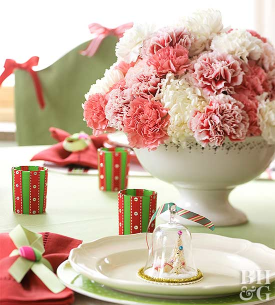 Carnations in a white ceramic bowl
