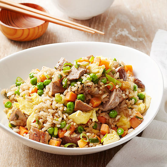 Quick Pork-and-Vegetable Fried Brown Rice