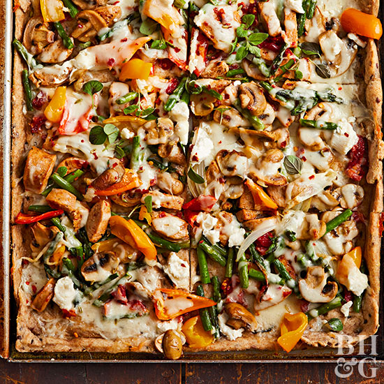 Roasted Vegetable-Chicken Sausage Pizza