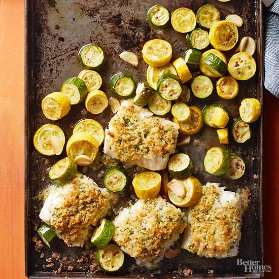 Parmesan-Crusted Cod with Garlicky Summer Squash