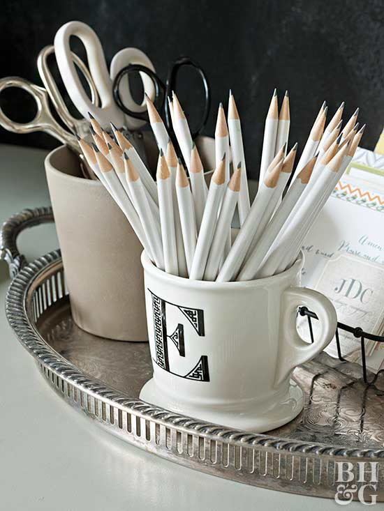 monogram mug with pencils