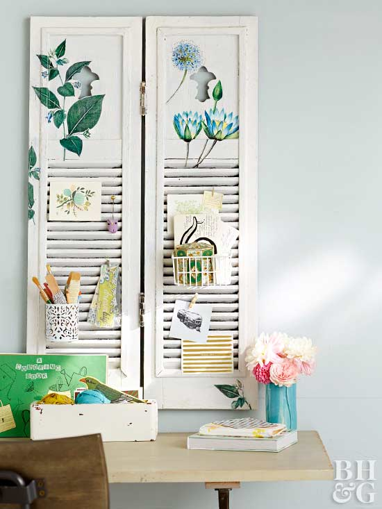 repurposed shutters for office organization