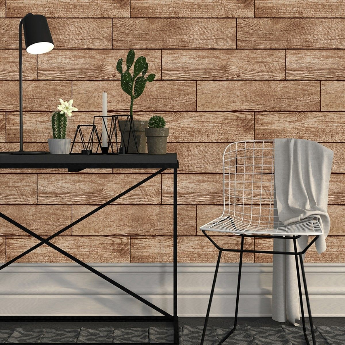 wood-look wallpaper by tempaper design
