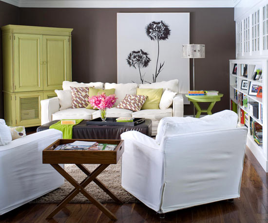 Livingroom with dandilion picture focal point